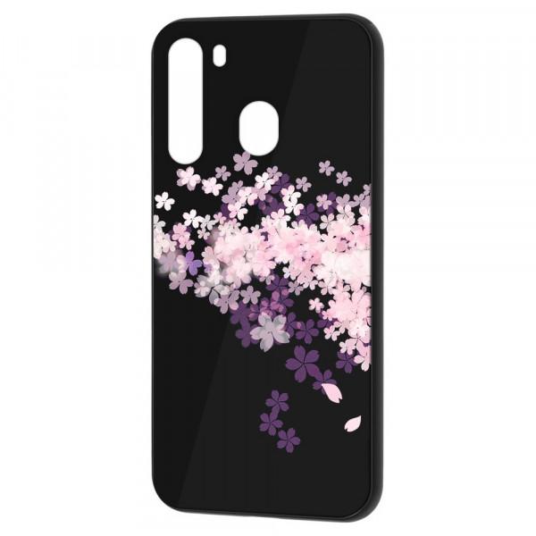 Samsung A21 Бампер силикон + стекло, Цветы вишни