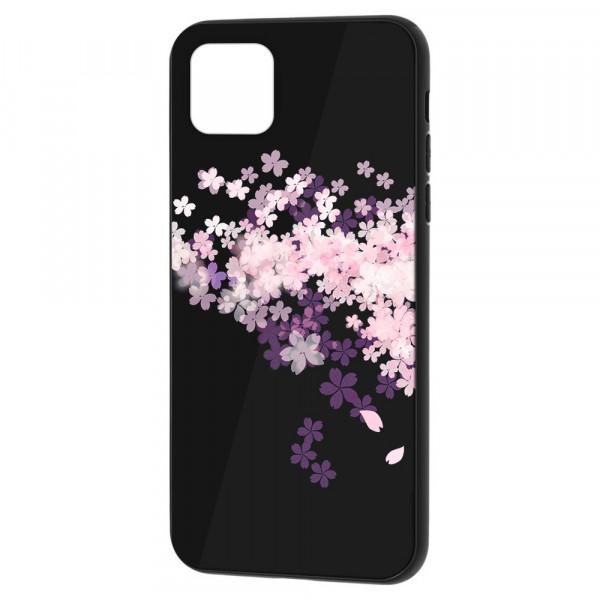 """iPhone 11 Pro (5.8"""") Бампер силикон + стекло, Цветы вишни"""