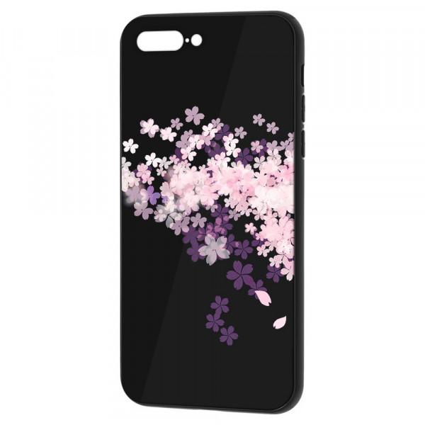 iPhone 7 Plus/8 Plus Бампер силикон + стекло, Цветы вишни