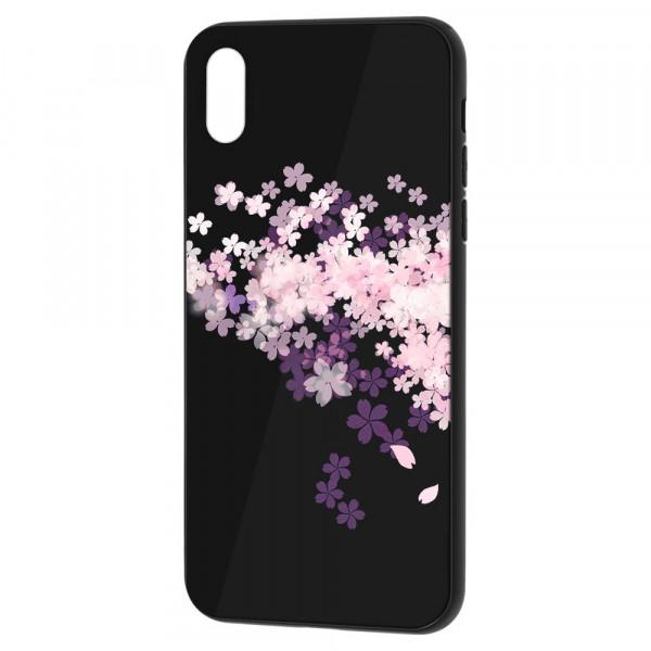 iPhone XR Бампер силикон + стекло, Цветы вишни
