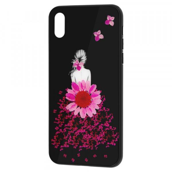iPhone XR Бампер силикон + стекло, Девушка в цветах