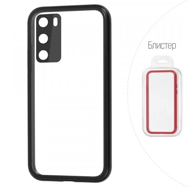Huawei P40 Бампер силиконовый прозрачный с окантовкой, чёрный (блистер)