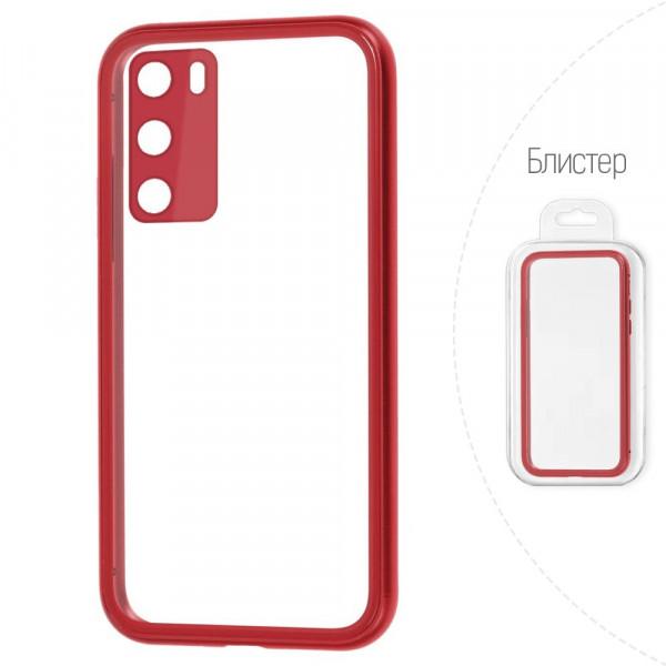 Huawei P40 Бампер силиконовый прозрачный с окантовкой, красный (блистер)
