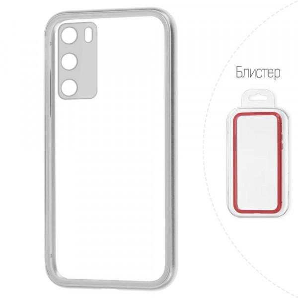 Huawei P40 Бампер силиконовый прозрачный с окантовкой, серебристый (блистер)
