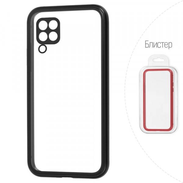 Huawei P40 Lite Бампер силиконовый прозрачный с окантовкой, чёрный (блистер)