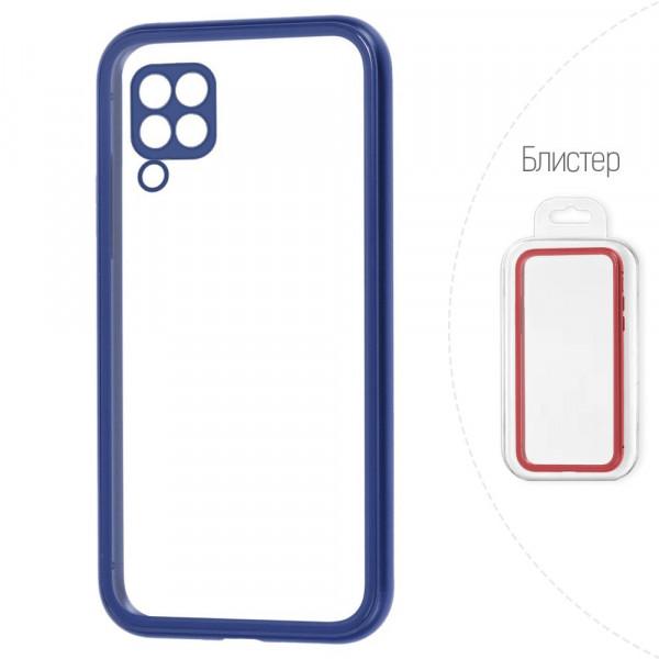 Huawei P40 Lite Бампер силиконовый прозрачный с окантовкой, синий (блистер)