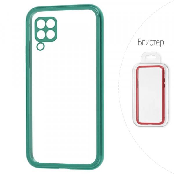 Huawei P40 Lite Бампер силиконовый прозрачный с окантовкой, зелёный (блистер)