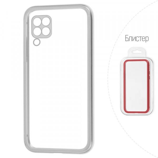Huawei P40 Lite Бампер силиконовый прозрачный с окантовкой, серебристый (блистер)