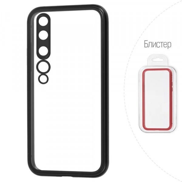Xiaomi Mi 10 Бампер силиконовый прозрачный с окантовкой, чёрный (блистер)