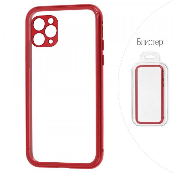 """iPhone 11 Pro (5.8"""") Бампер силиконовый прозрачный с окантовкой, красный (блистер)"""
