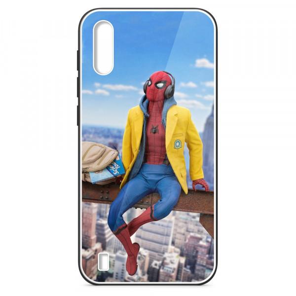 Samsung A01 Бампер силиконовый + имитация стекла, Человек-паук в жёлтой толстовке