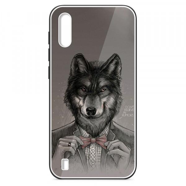 Samsung A01 Бампер силиконовый + имитация стекла, Волк в пиджаке