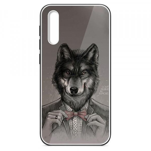 Samsung A50 Бампер силиконовый + имитация стекла, Волк в пиджаке