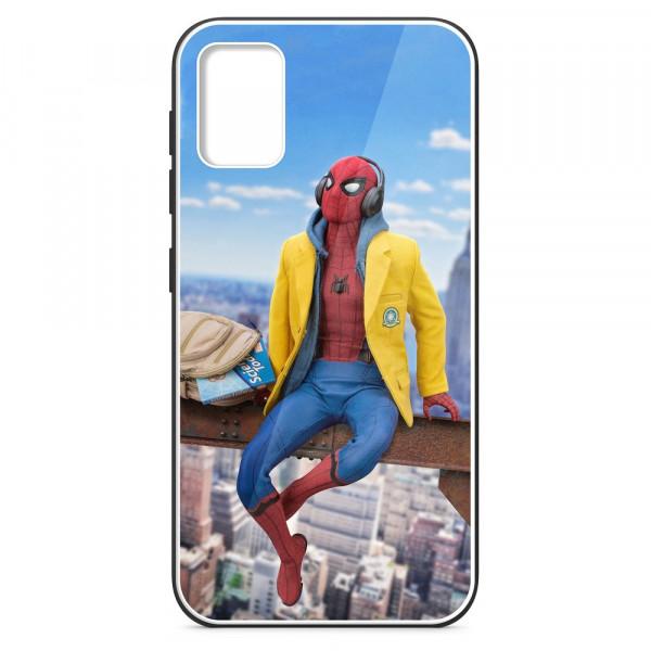 Samsung A51 Бампер силиконовый + имитация стекла, Человек-паук в жёлтой толстовке