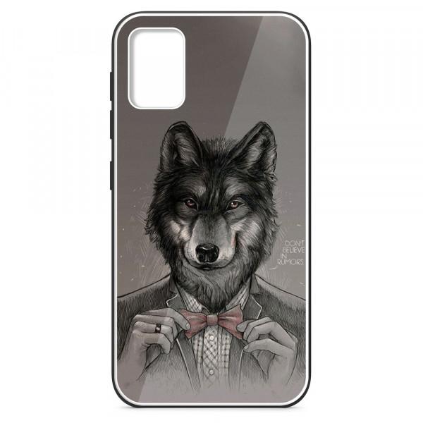 Samsung A51 Бампер силиконовый + имитация стекла, Волк в пиджаке