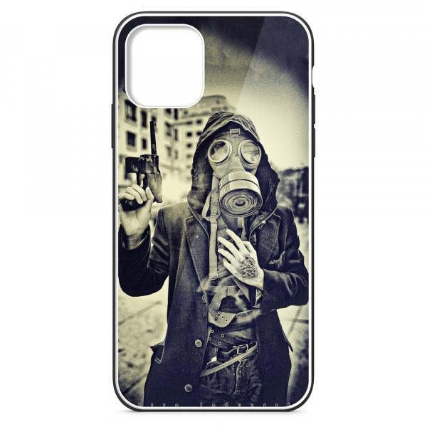 """iPhone 11 (6.1"""") Бампер силиконовый + имитация стекла, Человек в противогазе"""