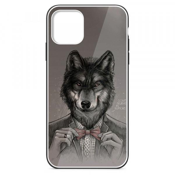 """iPhone 11 Pro (5.8"""") Бампер силиконовый + имитация стекла, Волк в пиджаке"""