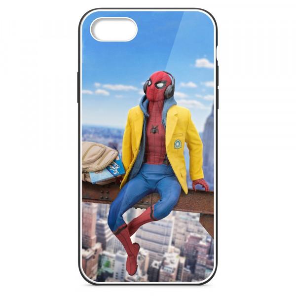 iPhone 7/8 Бампер силиконовый + имитация стекла, Человек-паук в жёлтой толстовке