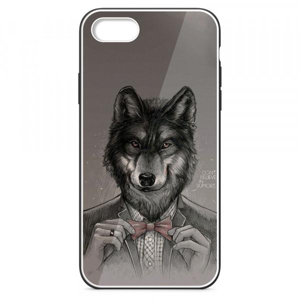 iPhone 7/8 Бампер силиконовый + имитация стекла, Волк в пиджаке