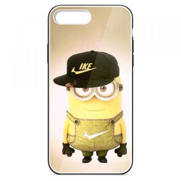 iPhone 7+/8+ Бампер силиконовый + имитация стекла, Миньон в кепке