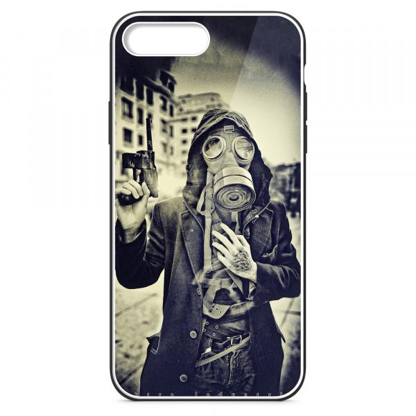 iPhone 7+/8+ Бампер силиконовый + имитация стекла, Человек в противогазе