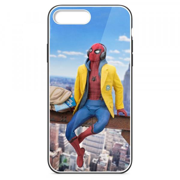 iPhone 7+/8+ Бампер силиконовый + имитация стекла, Человек-паук в жёлтой толстовке