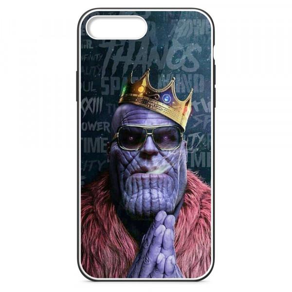 iPhone 7+/8+ Бампер силиконовый + имитация стекла, Существо в короне