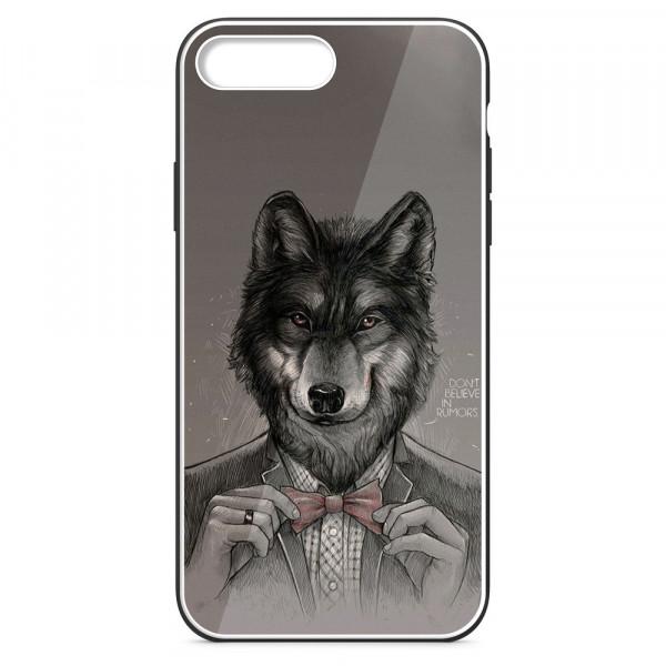 iPhone 7+/8+ Бампер силиконовый + имитация стекла, Волк в пиджаке