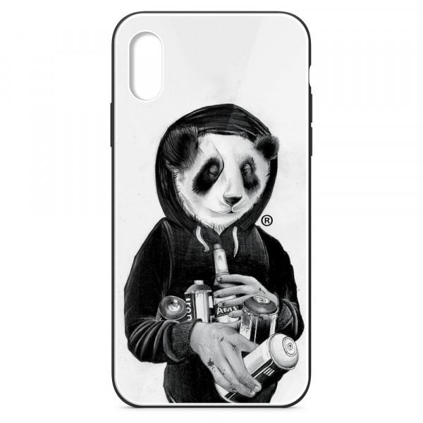 iPhone XR Бампер силиконовый + имитация стекла, Панда в толстовке