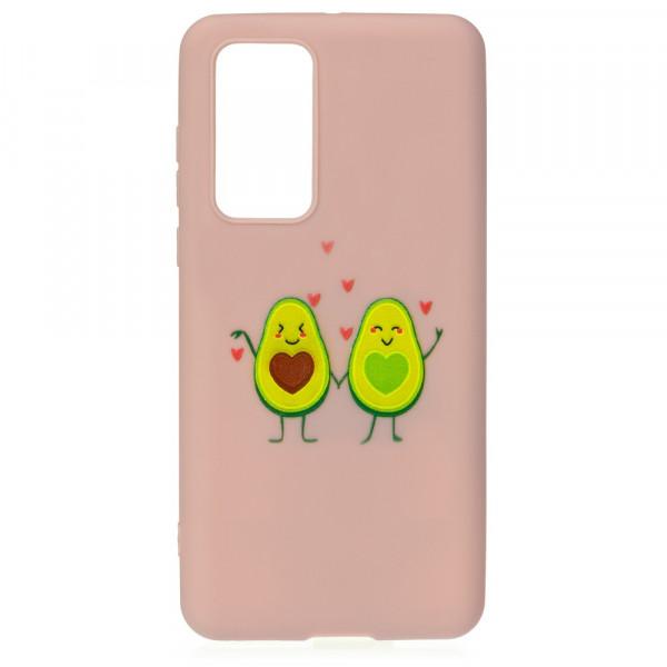Huawei P40 Бампер силиконовый Влюблённые авокадо, пудровый