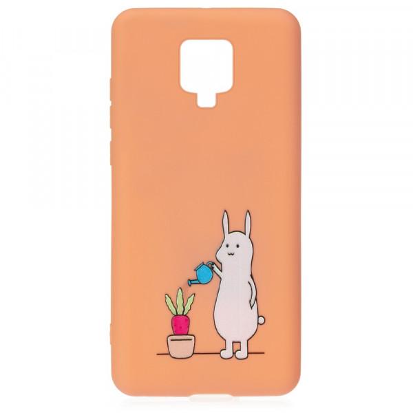 Xiaomi Redmi Note 9 Pro Бампер силиконовый Заяц с лейкой, оранжевый