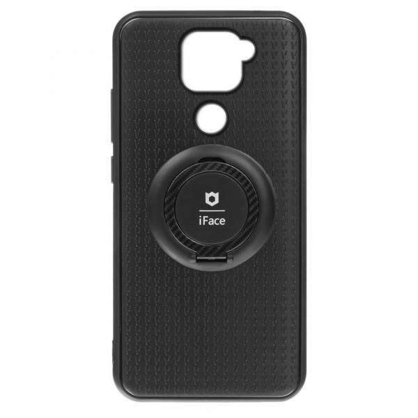 Xiaomi Redmi Note 9 Бампер силиконовый с кольцом iFace, чёрный