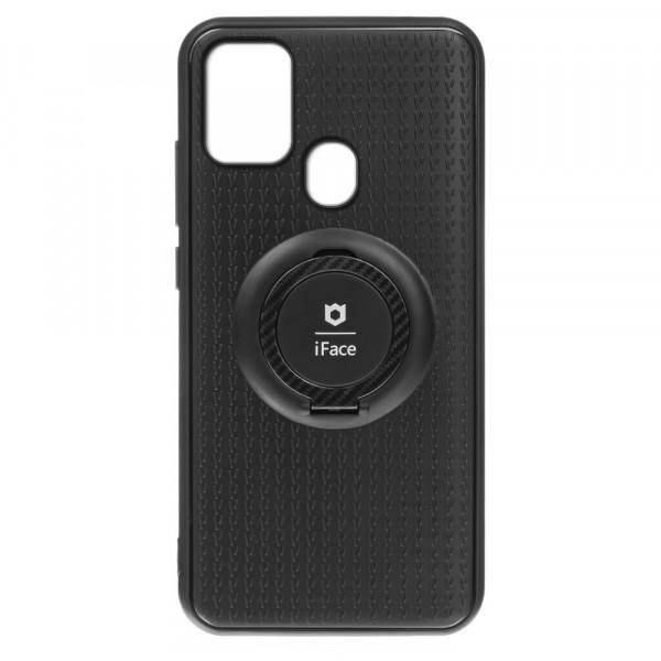 Samsung A21s Бампер пластиковый с кольцом iFace, чёрный