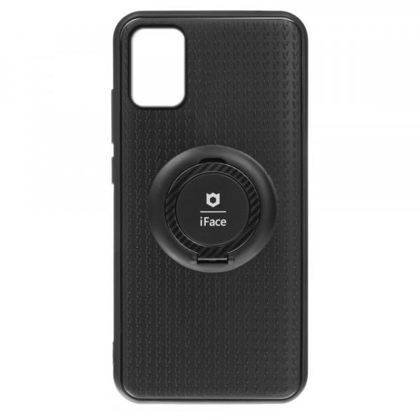 Samsung A71 Бампер силиконовый с кольцом iFace, чёрный