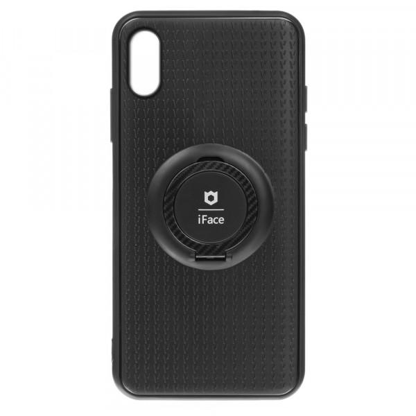 iPhone X/XS Бампер силиконовый с кольцом iFace, чёрный