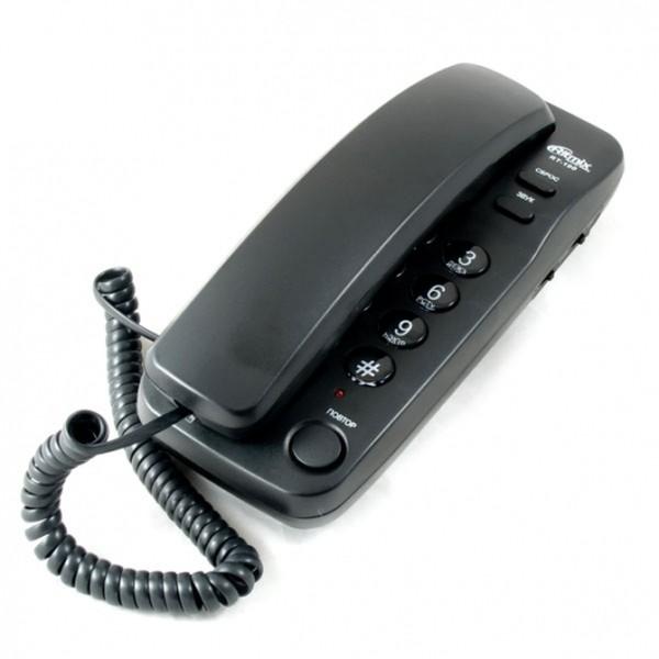 Ritmix RT-100 Проводной телефонный аппарат без дисплея (настенный), чёрный