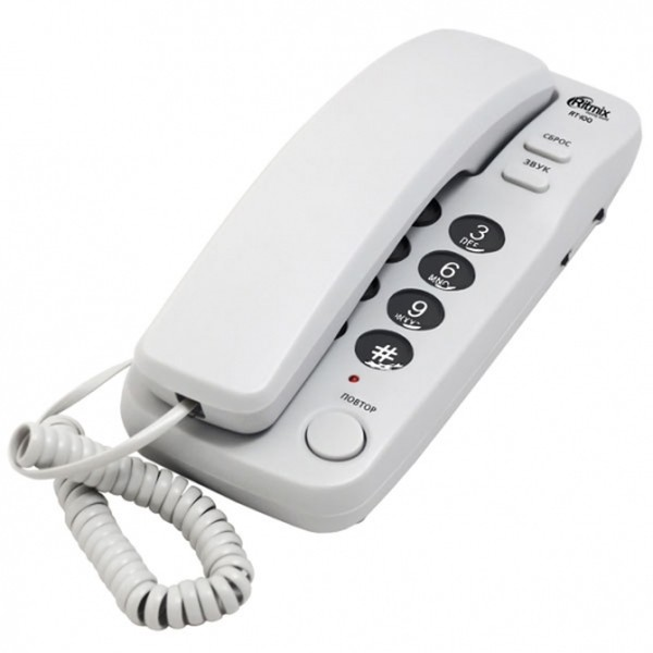 Ritmix RT-100 Проводной телефонный аппарат без дисплея (настенный), серый