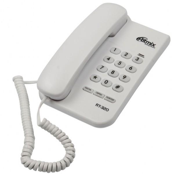 Ritmix RT-320 Проводной телефонный аппарат без дисплея  (настольный/настенный), белый