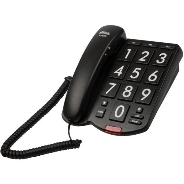 Ritmix RT-520 Проводной телефонный аппарат без дисплея  (настольный/настенный), чёрный