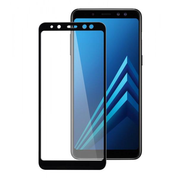 Стекло защитное Samsung A8 (2018) 9D (в тех.упаковке), чёрное