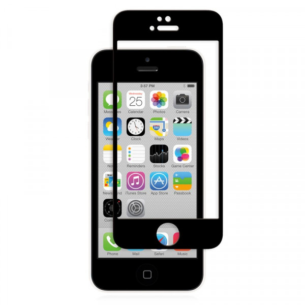 Стекло защитное iPhone  5 / 5S / SE 9D (в тех.упаковке), чёрное