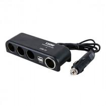 Разветвитель прикуривателя 1525 (4 выхода +2 USB) чёрный