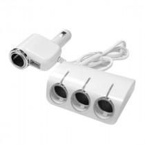 Разветвитель прикуривателя 1528 (4 выхода +USB) белый
