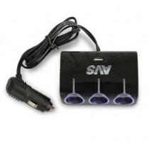 AVS CS317U Разветвитель прикуривателя 12/24 (на 3 выхода+USB)