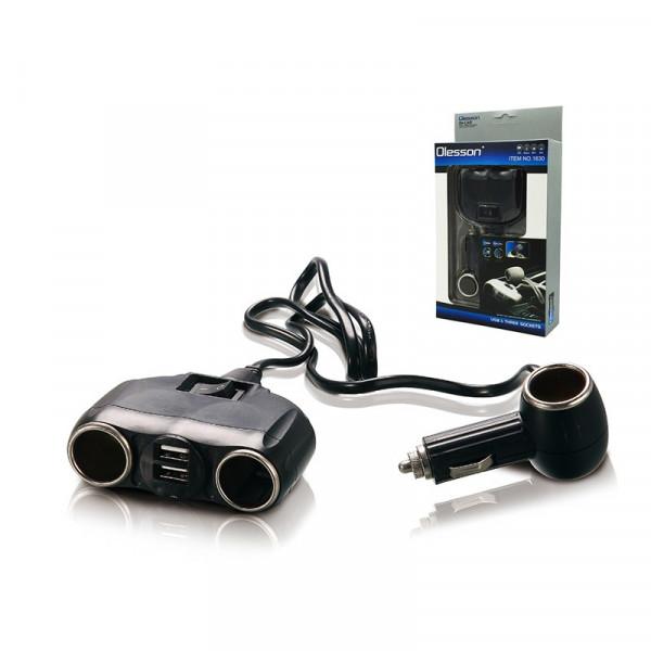 Разветвитель прикуривателя 1630 (3 выхода + 2 USB) с кнопкой вкл/выкл чёрный