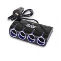 AVS CS410U Разветвитель прикуривателя 12/24 (на 4 выхода+2 USB)