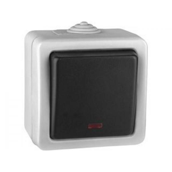 Выключатель кнопочный Volsten V01-43-Z12-S (1-кл. с индикацией, 250В, 10A, IP54), серый