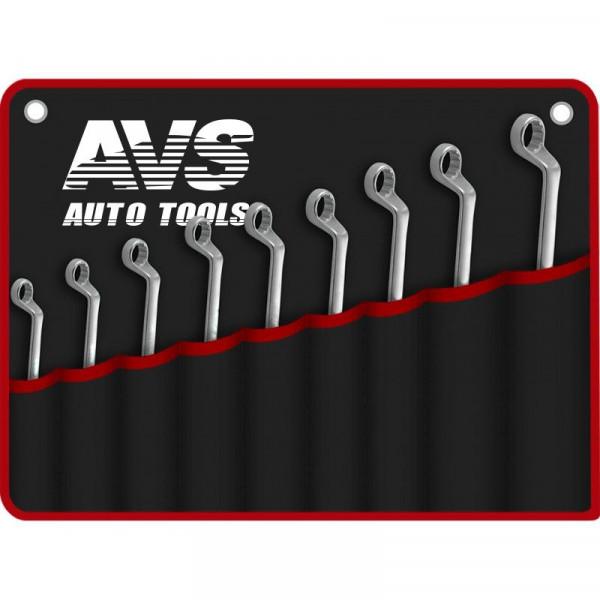 Набор ключей AVS K2N9M гаечные, накидные, изогнутые, 9 предметов, (6-24 мм), сумка