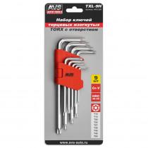 Набор ключей AVS TXL-9H торцевые, изогнутые, TORX с отверстием, 9 предметов (T10-T50)