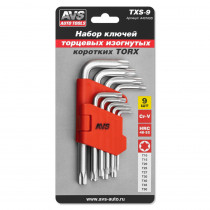 Набор ключей AVS TXS-9 торцевые, изогнутые, короткие, TORX с отверстием, 9 предметов (T10-T50)